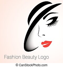 Fashion Beauty Logo. Woman with Hat - Fashion and Beauty...