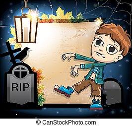 Halloween  zombie with crow and gravestones