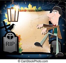Halloween  zombie, crow and gravestones