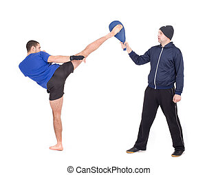 Martial Arts Sparring Isolated on a white background Studio...