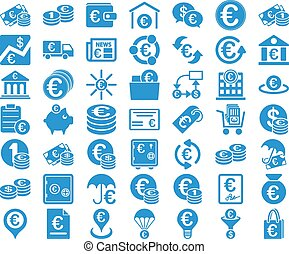 Euro Banking Icons. These flat icons use cobalt color....