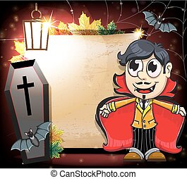 Halloween Vampire with coffin and bats - Vampire, coffin and...