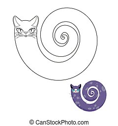 "Cat breeds cat ""snake"" coloring book. Fabulous pet cat with head and body of snake."