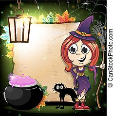 Halloween witch with a cauldron and black cat