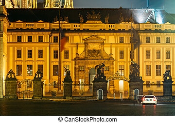 Night view of Office of the President of the Czech Republic in P