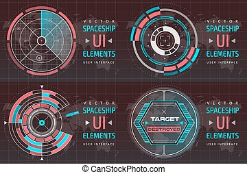 UI hud infographic interface screen monitor radar set web...