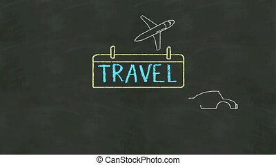 Handwriting concept of 'Travel' at chalkboard.and icon...