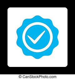 Valid icon. Icon style is blue and white colors, flat...