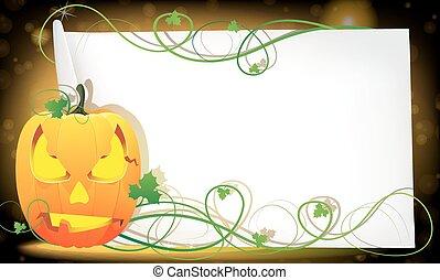 Pumpkin monster and a sheet of paper