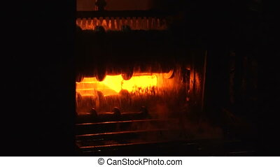 Production rental - Molten metal melted in furnace at...