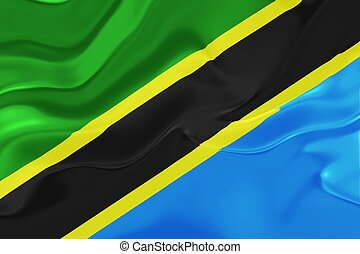 Flag of Tanzania wavy - Flag of Tanzania, national country...
