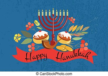 Vector collection of labels and elements for Hanukkah. Happy...