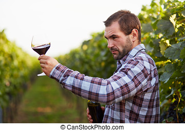 Man looking at color of red wine in a glass