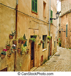 mediterranean village - a view of a litle old mediterranean...