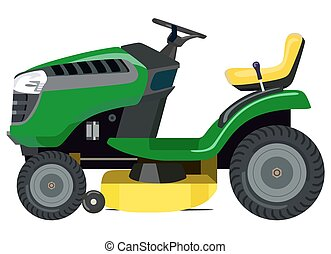 Lawnmower - Green lawnmower on a white background