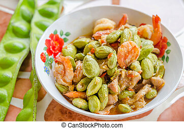 sato shrimp - Stir-fried stink bean with shrimp and chili