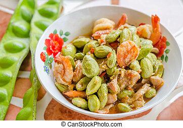 sato shrimp - Stir-fried stink bean with shrimp and chili