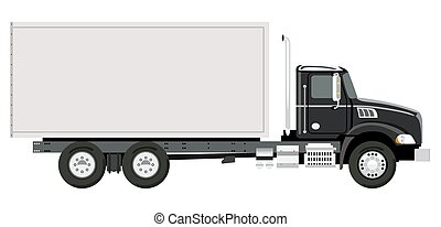 Side truck - Side black truck with a container on a white...