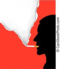 Smoker male silhouette - Ilustration of smoking man with...