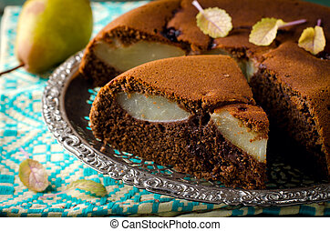 piece of homemade chocolate cake with pears