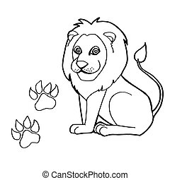 paw print with Lions Coloring Pages - image of paw print...
