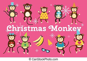 Happy cartoon monkey dancing party birthday background -...