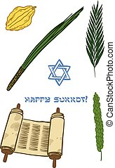 Vector iconset for Sukkot Jewish Traditional Holiday -...