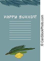 Sukkot Festival greeting card design vector template...