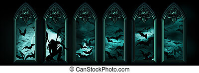Halloween banner with bats and a fallen angel - Illustration...