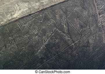 Geoglyphs and lines in the Nazca desert Peru