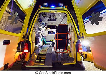 Ambulance car - Emergency service - open doors of the...