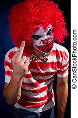 Crazy clown, a bright make-up