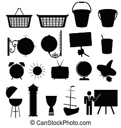 various stuff black silhouette vector
