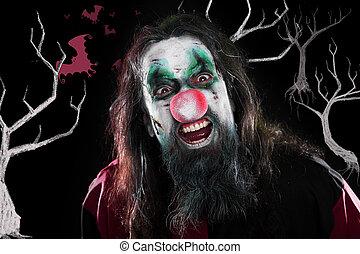 conceito, dia das bruxas, Palhaço, rir, pretas, árvores,...