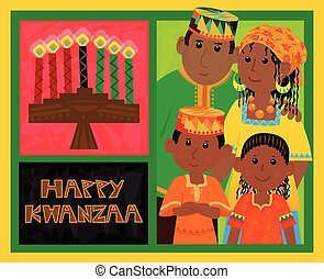 Kwanzaa Card - Cute Kwanzaa greeting card with kinara, happy...