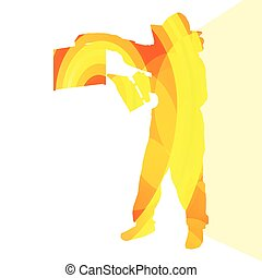 Beekeeper working silhouette illustration vbackground...