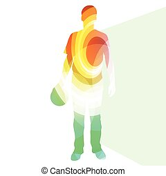 Man bowler bowling silhouette illustration vbackground colorful concept