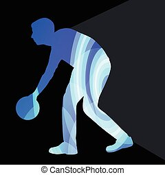 Man bowler bowling silhouette illustration background colorful concept
