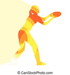 Woman playing throwing flying disc silhouette illustration...