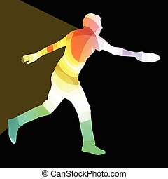 Man playing throwing flying disc silhouette illustration...