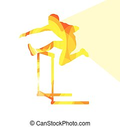 Athlete jumping hurdle, man silhouette, illustration,...