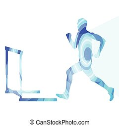 Athlete jumping hurdle, man silhouette, illustration,...
