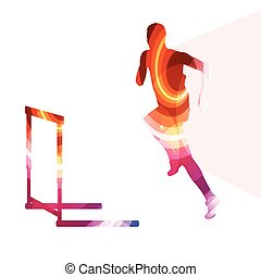 Athlete jumping hurdle, man silhouette, illustration, background, colorful concept