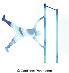 Man doing pull-up on bar silhouette illustration background...