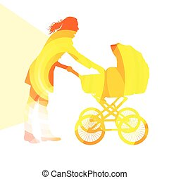 Mother with baby strollers, carriage walking woman...