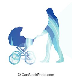 Dad with baby strollers, carriage walking man silhouette illustration  background colorful concept