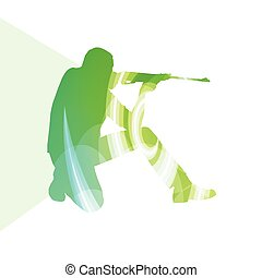 Man shooting sport hunting silhouette illustration background colorful concept