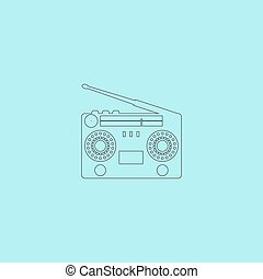 Classic 80s boombox Simple outline flat vector icon isolated...