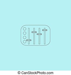 Sound Mixer Console Simple outline flat vector icon isolated...