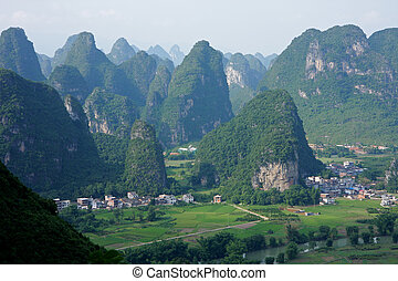 Limestone hills, China - Limestone hills with rural...